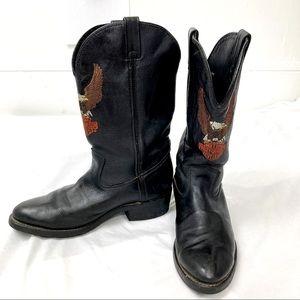 Vintage Harley Davidson cowboy boots black leather